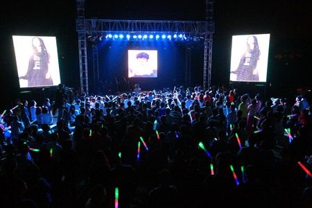 glow stick: Crowd waiting for concert