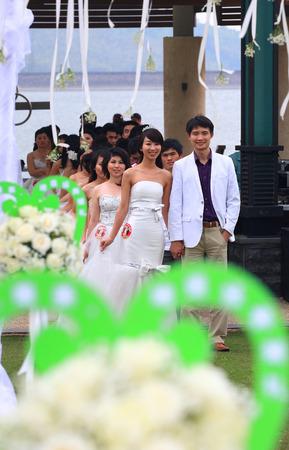 aisle: Wedding couples walking down the aisle