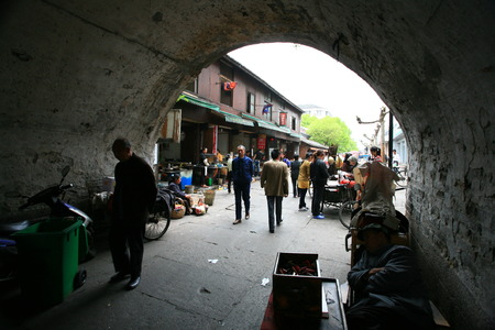 street market: Street market by the tunnel