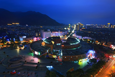 he: Scenic of Chong He Men Plaza at night Editorial
