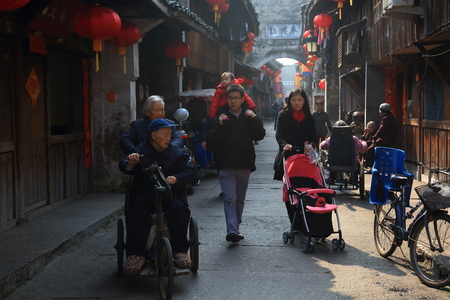 80 plus adult: People walking on the street Editorial