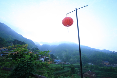 farming village: View of a farming village with a red lantern