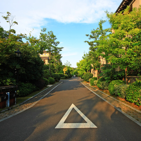 kana: Road with plants at the side in a housing area