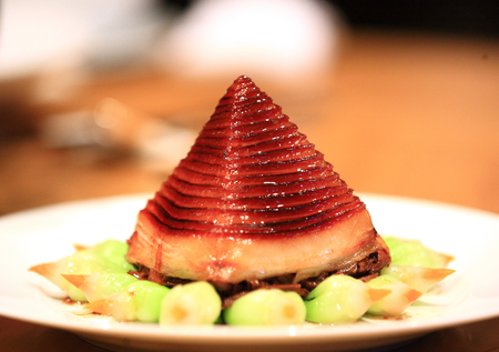 dongpo: Dongpo pork serve on plate with pyramid shape Stock Photo