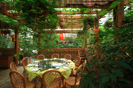 hometown: Outdoor dining area in jiulong bay country hometown