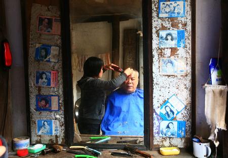 tou: Woman trimming senior mans hair