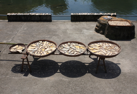small town life: Drying sliced bamboo shoots