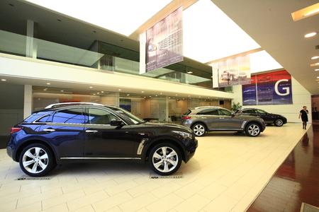infiniti: Interior of Nissan infiniti automobile showroom