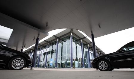 benz: Exterior of an automobile showroom
