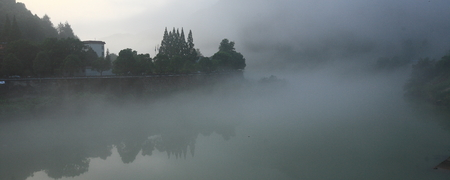 the color of silence: Panoramic view on a lake