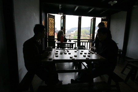 old furniture: Villagers playing chess