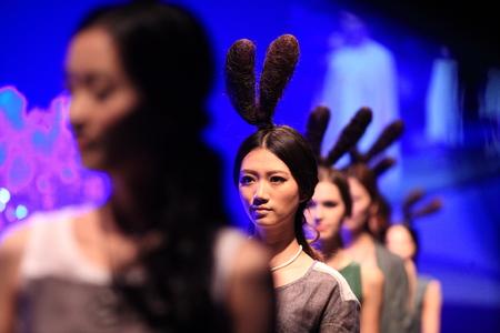 headgear: Beautiful female model wearing a headgear