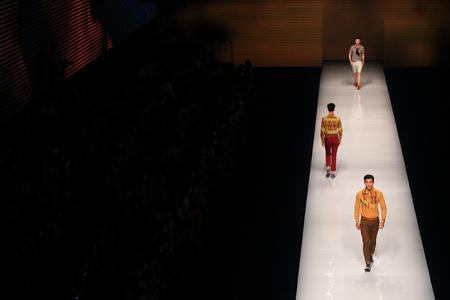 fashion runway: Models on a fashion runway Editorial