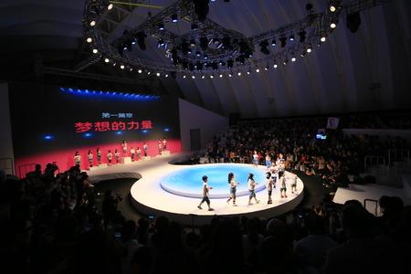 fashion runway: Children walking on fashion runway Editorial