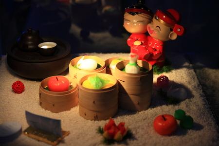 traditonal: Display of dim sum and tea for traditonal Chinese wedding Stock Photo