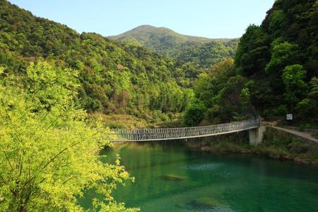man made: Man made bridge across the lake Stock Photo