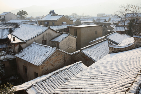 folkways: View of rooftops in a village Stock Photo