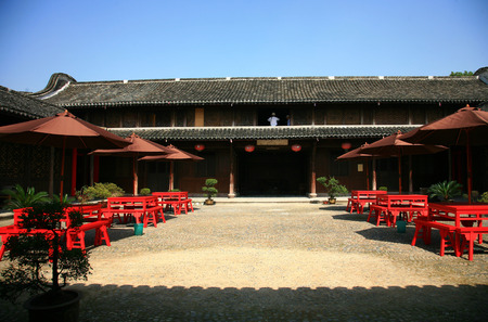 chinese courtyard: Tables and benches in a courtyard