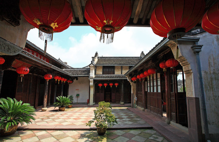 chinese traditional house: A courtyard in a Chinese traditional house Editorial