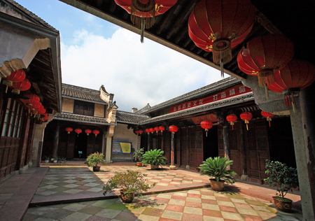 chinese courtyard: A courtyard in a Chinese traditional house Editorial