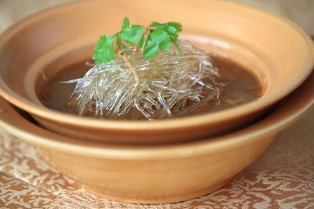shark fin: Shark fin soup in a bowl Stock Photo