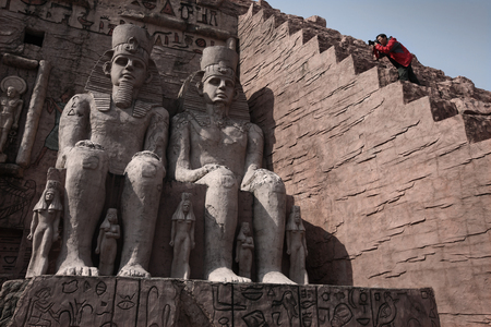 replica: Replica of ancient Egypt sculptures in the amusement park Editorial