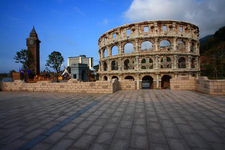 replica: Replica of Colosseum in amusement park Editorial