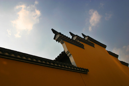 angle: Low angle view of a temple wall