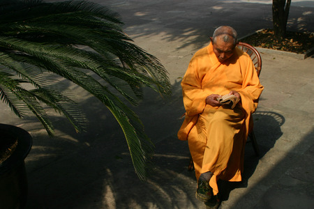 sutra: A monk reading sutra on a chair
