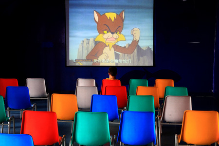boys only: Cartoons in a theatre