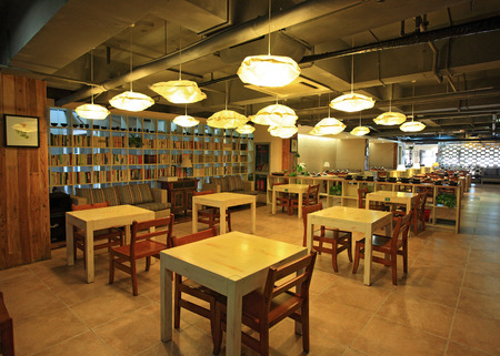 book racks: Interior view of a coffeehouse