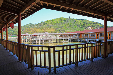 sheltered: Sheltered walkway in the fish farm
