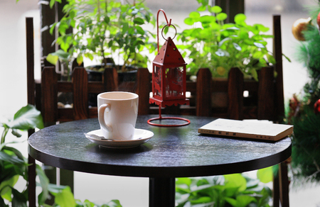 coffeehouse: A coffee table in a coffeehouse