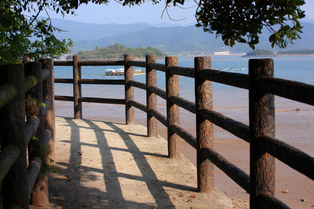 wooden railings: Wooden railings by the sea