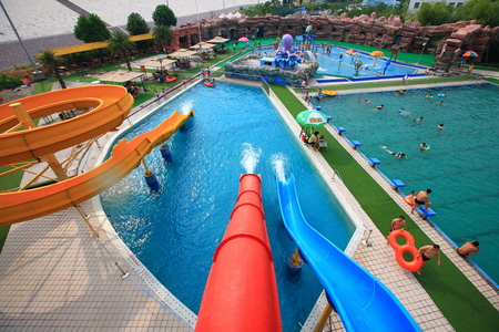 fun activity: High angle view of a water park Editorial