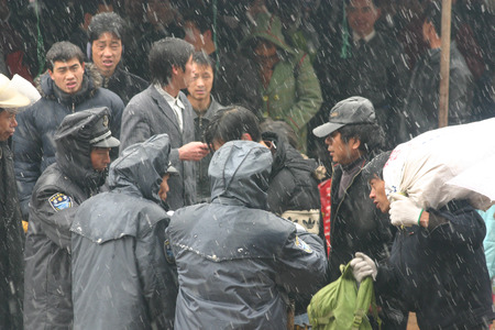unifrom: People waiting in a blizzard