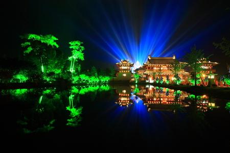 maitreya: The temple and statue of Maitreya at night Editorial