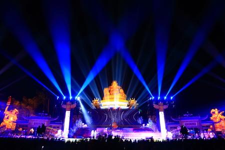 maitreya: View of the illuminated Maitreya statue at night