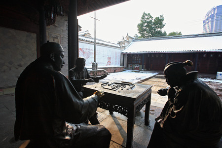 describing: View of statues describing the invention of mahjong game in Tian Yi Ge