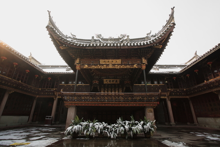 ancestral: View of an ancestral shrine in Tian Yi Ge Editorial