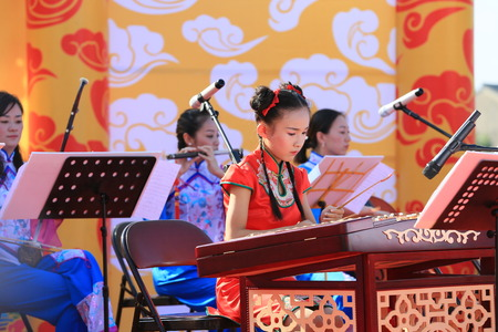 performers: Performers playing traditional musical instrument on stage