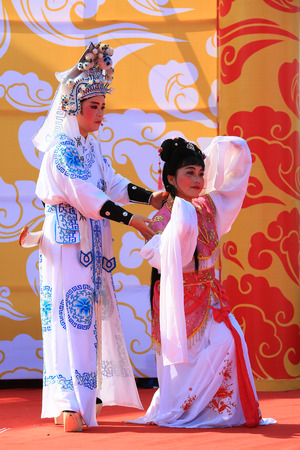 stage actors: Two actors performing on stage Editorial