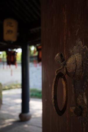 door knob: Door knob on wooden door Stock Photo
