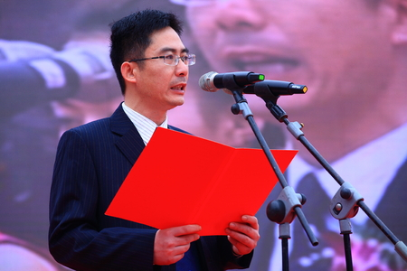 one mature man only: Giving out a speech at the opening ceremony