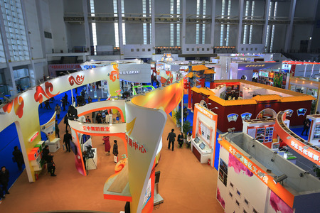 the exhibition hall: Booths in an exhibition hall Editorial