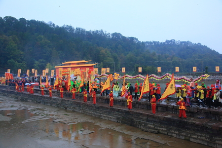 folk heritage: Parade of the memorial ceremony in Yinjiang, Ningbo