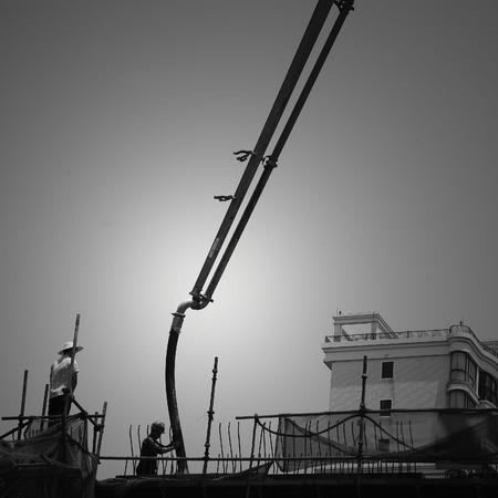 PUMPER: Concrete pumps at work on a construction building