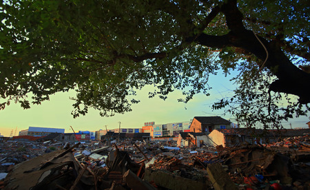 dystopia: Building rubble in Choubi village