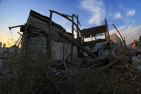 industrial wasteland: A demolished house in Choubi village