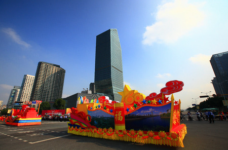 joyous festivals: Parade floats on the street